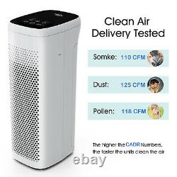 3 Stage TRUE HEPA Filter Air Purifier for Large Room Remove Odor Allergies Smoke