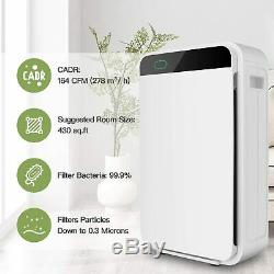 60W Air Purifier Air Cleaner+True HEPA Filter Quiet Odor Eliminators for Bedroom