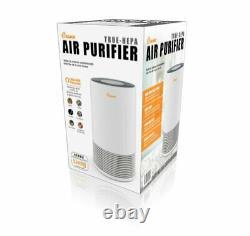 Crane Tower Air Purifier with True HEPA Filter Germicidal Light 3 Speed White