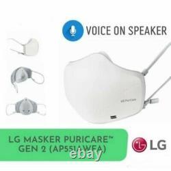 LG PuriCare GEN 2 VoiceON Smart Face Mask AP551AWFA Wearable HEPA Air Purifier