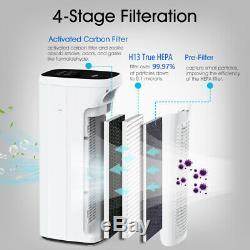 Large Room Air Purifier True HEPA Air Cleaner Allergies Eliminator Smoke Remover
