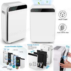 Large Room Air Purifier True HEPA Filter 5-Speed Fan UV Sanitizer Air Cleaner