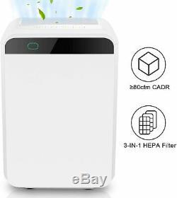 Large Room Air Purifier True HEPA Filter 5-Speed Fan UV Sanitizer Air Cleaner US