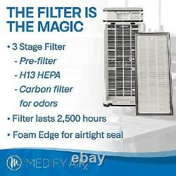 Medify Air Medical H13 HEPA Filter Tower Room Air Purifier, White (Open Box)
