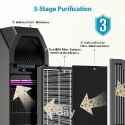 Purificador de aire 3en1 ultra silencioso HEPA filtro de carbon activado LED UV