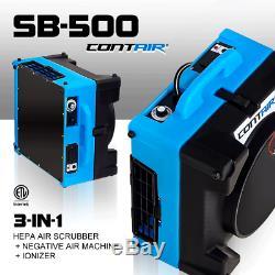 3-in-1 Contair Sb-500 Hepa Air Scrubber + Négatif Air + Machine Ioniseur Bleu