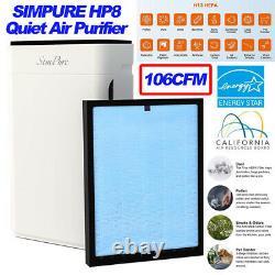 4stage Air Purifier Grande Pièce, H13true Hepa Filtre Nettoyant Silencieux Éliminateur D'odeurs