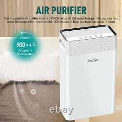 900sqft Purificateur D'air Grande Chambre Avec2xh13 True Hepa Filtres=1 An D'utilisation, Air Cleaner