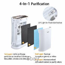 Accueil Grande Chambre 4 En 1 Purificateur D'air Avec Filtre Hepa Uv-c Sanitizer 2 Pack