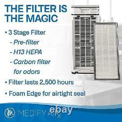 Medify Air Ma-40-b1 Médical Grade H13 Hepa Filter Tower Purificateur D'air, Noir