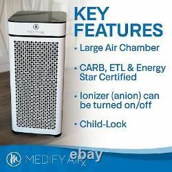 Medify Air Medical H13 Hepa Filter Tower Air Purifier Room, Blanc (boîte Ouverte)