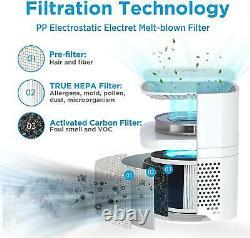 Purificateur D'air With4pcsh13 Hepa Filtre Éliminateurs D'odeurs 226sqft Nettoyeur D'air De Bureau