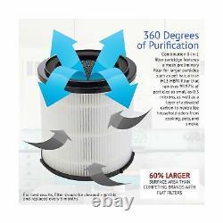 Silveronyx Air Purificateur H13 True Hepa Filter Cleaner Uv Light 5 Speed Black Nouveau